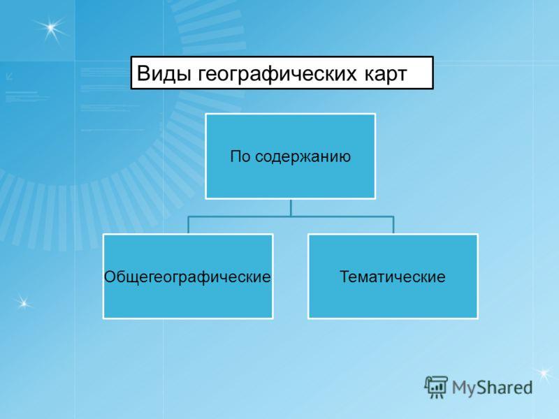 По содержанию ОбщегеографическиеТематические Виды географических карт