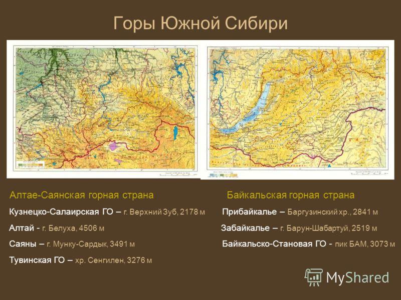 Горы южной сибири географическое