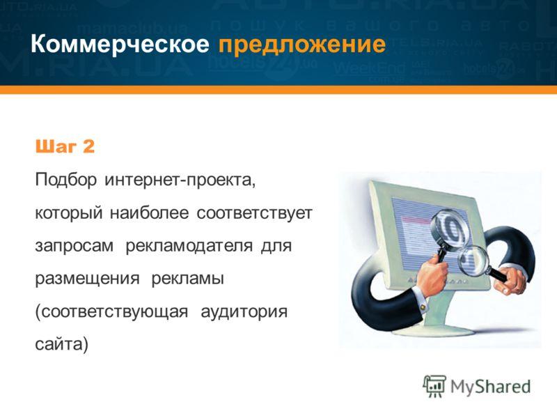 Коммерческое предложение Шаг 2 Подбор интернет-проекта, который наиболее соответствует запросам рекламодателя для размещения рекламы (соответствующая аудитория сайта)