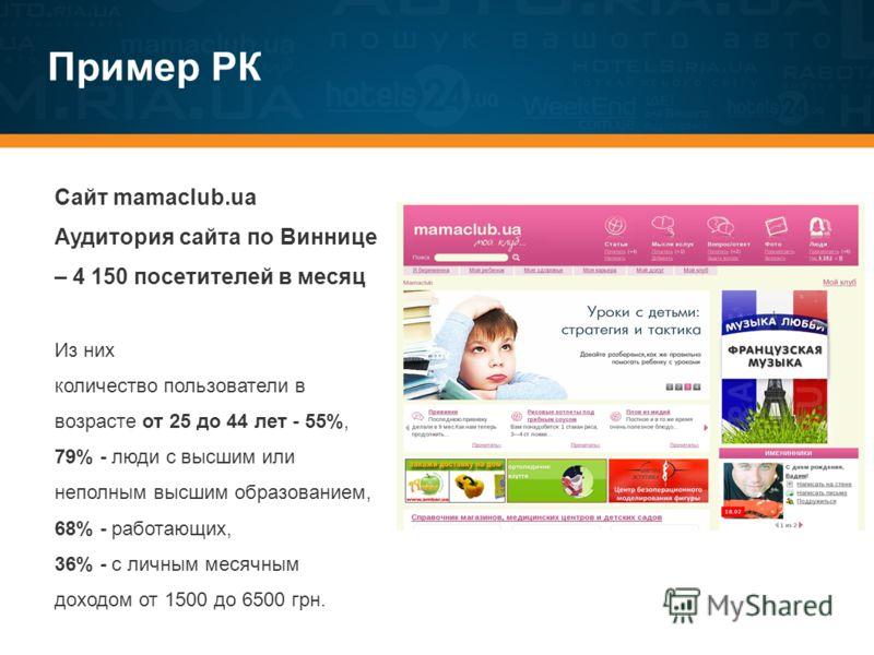 Пример РК Сайт mamaclub.ua Аудитория сайта по Виннице – 4 150 посетителей в месяц Из них количество пользователи в возрасте от 25 до 44 лет - 55%, 79% - люди с высшим или неполным высшим образованием, 68% - работающих, 36% - с личным месячным доходом