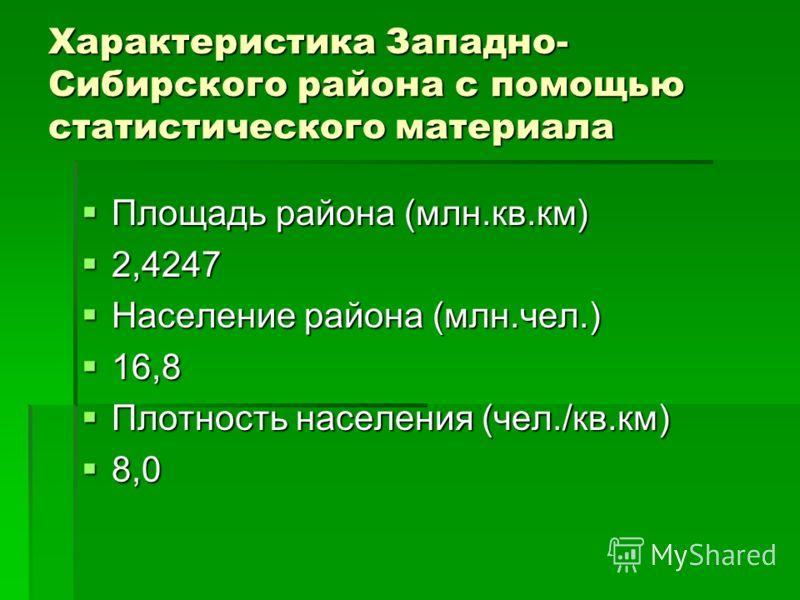 Характеристика Западно- Сибирского района с помощью статистического материала Площадь района (млн.кв.км) 2,4247 Население района (млн.чел.) 16,8 Плотность населения (чел./кв.км) 8,0