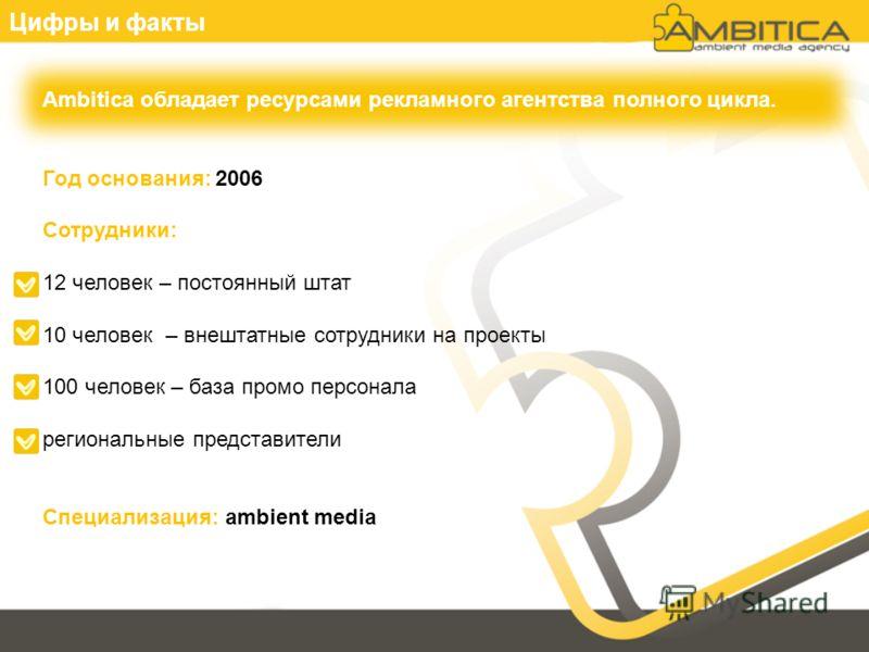 Цифры и факты Ambitica обладает ресурсами рекламного агентства полного цикла. Год основания: 2006 Сотрудники: 12 человек – постоянный штат 10 человек – внештатные сотрудники на проекты 100 человек – база промо персонала региональные представители Спе
