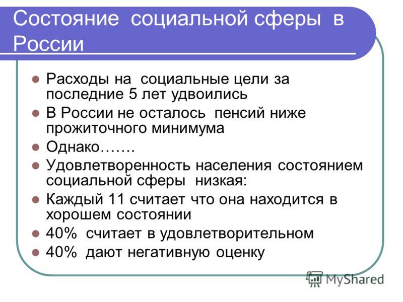 Состояние социальной сферы в России Расходы на социальные цели за последние 5 лет удвоились В России не осталось пенсий ниже прожиточного минимума Однако……. Удовлетворенность населения состоянием социальной сферы низкая: Каждый 11 считает что она нах