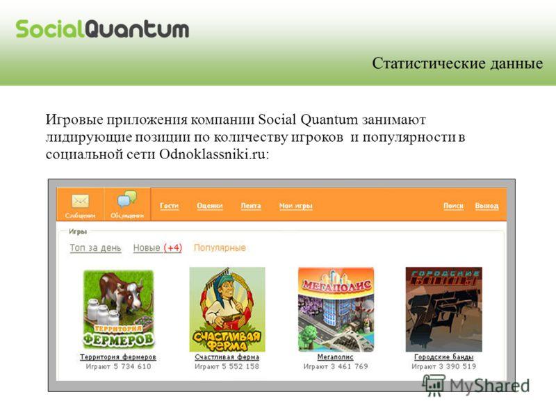 Игровые приложения компании Social Quantum занимают лидирующие позиции по количеству игроков и популярности в социальной сети Odnoklassniki.ru: Статистические данные