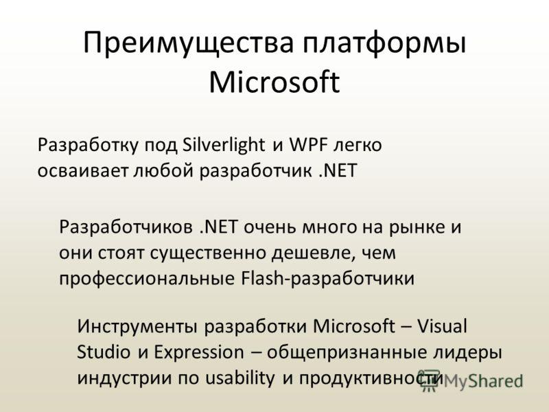 Преимущества платформы Microsoft Разработку под Silverlight и WPF легко осваивает любой разработчик.NET Разработчиков.NET очень много на рынке и они стоят существенно дешевле, чем профессиональные Flash-разработчики Инструменты разработки Microsoft –