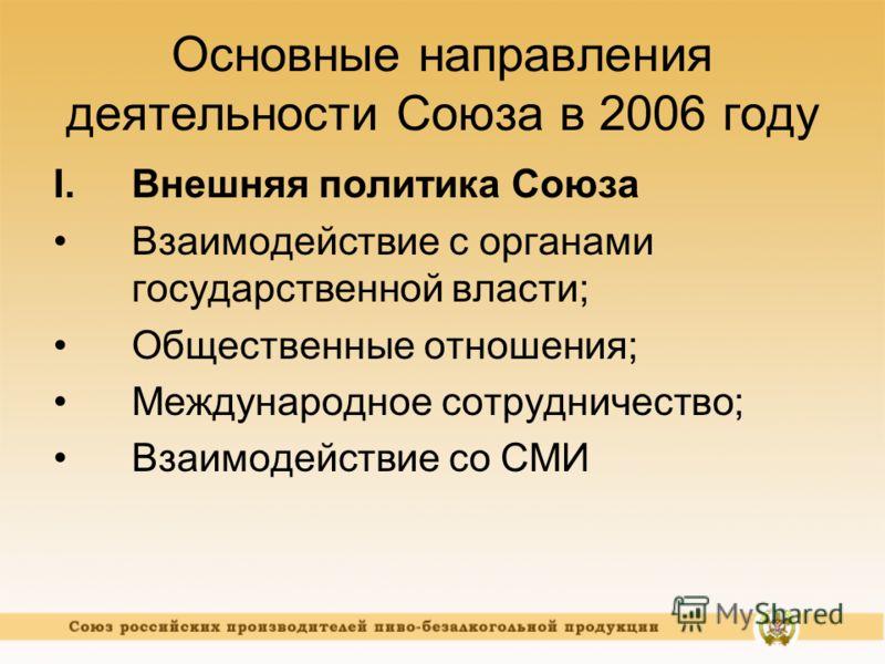 Основные направления деятельности Союза в 2006 году I.Внешняя политика Союза Взаимодействие с органами государственной власти; Общественные отношения; Международное сотрудничество; Взаимодействие со СМИ