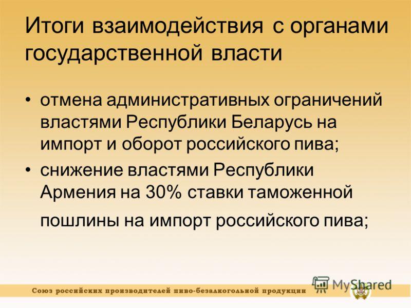 Итоги взаимодействия с органами государственной власти отмена административных ограничений властями Республики Беларусь на импорт и оборот российского пива; снижение властями Республики Армения на 30% ставки таможенной пошлины на импорт российского п