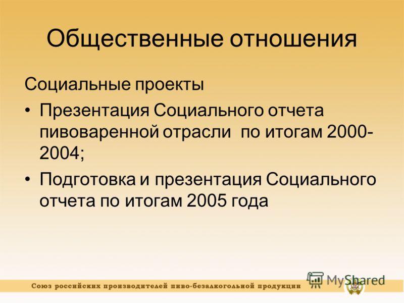 Общественные отношения Социальные проекты Презентация Социального отчета пивоваренной отрасли по итогам 2000- 2004; Подготовка и презентация Социального отчета по итогам 2005 года