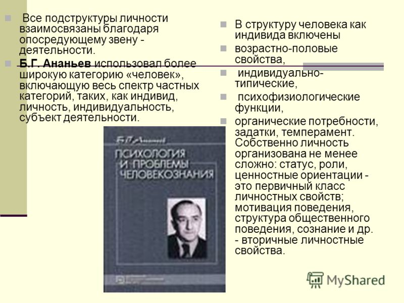 Все подструктуры личности взаимосвязаны благодаря опосредующему звену - деятельности. Б.Г. Ананьев использовал более широкую категорию «человек», включающую весь спектр частных категорий, таких, как индивид, личность, индивидуальность, субъект деятел