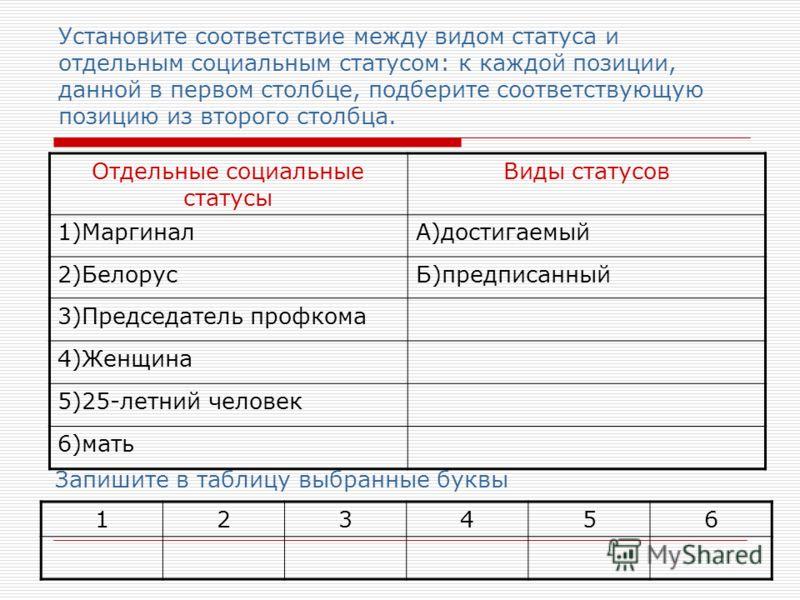 Установите соответствие между видом статуса и отдельным социальным статусом: к каждой позиции, данной в первом столбце, подберите соответствующую позицию из второго столбца. Отдельные социальные статусы Виды статусов 1)МаргиналА)достигаемый 2)Белорус