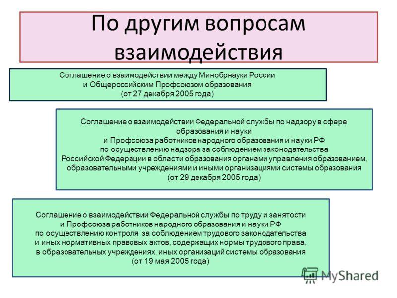 По другим вопросам взаимодействия Соглашение о взаимодействии между Минобрнауки России и Общероссийским Профсоюзом образования (от 27 декабря 2005 года) Соглашение о взаимодействии Федеральной службы по надзору в сфере образования и науки и Профсоюза