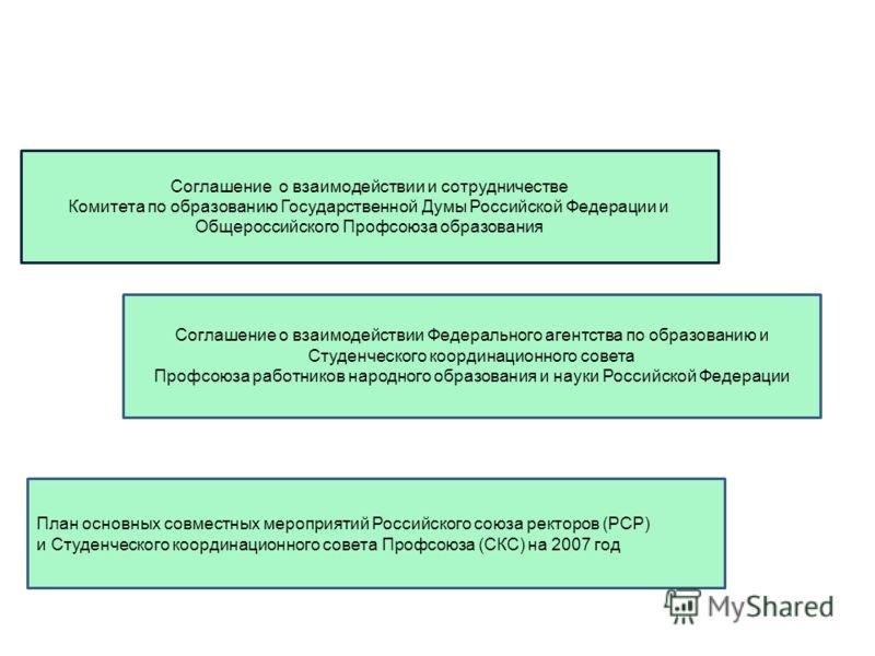 Соглашение о взаимодействии и сотрудничестве Комитета по образованию Государственной Думы Российской Федерации и Общероссийского Профсоюза образования Соглашение о взаимодействии Федерального агентства по образованию и Студенческого координационного