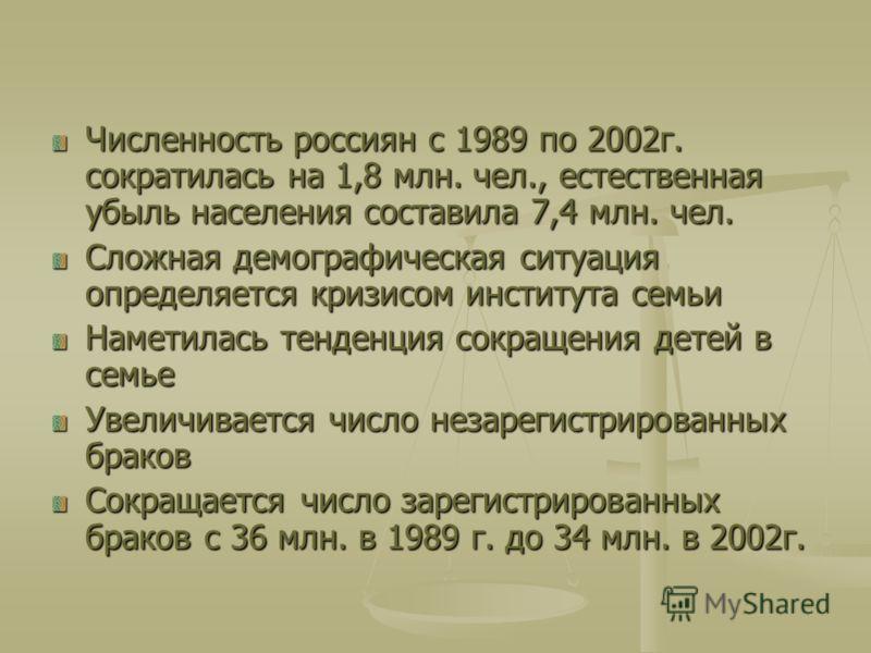Численность россиян с 1989 по 2002г. сократилась на 1,8 млн. чел., естественная убыль населения составила 7,4 млн. чел. Сложная демографическая ситуация определяется кризисом института семьи Наметилась тенденция сокращения детей в семье Увеличивается