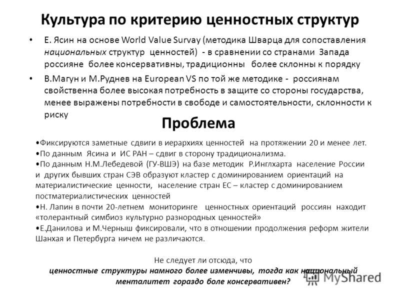 Культура по критерию ценностных структур Е. Ясин на основе World Value Survay (методика Шварца для сопоставления национальных структур ценностей) - в сравнении со странами Запада россияне более консервативны, традиционны более склонны к порядку В.Маг