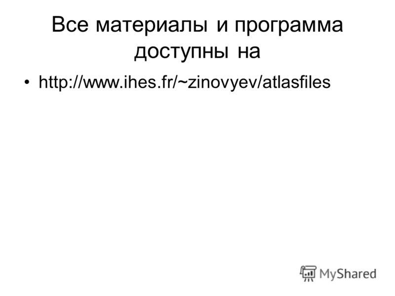 Все материалы и программа доступны на http://www.ihes.fr/~zinovyev/atlasfiles