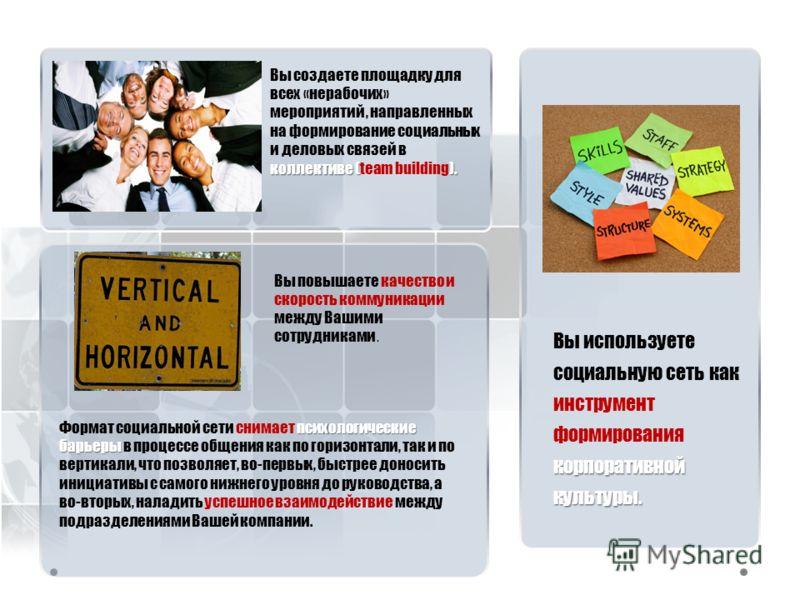 корпоративной культуры. Вы используете социальную сеть как инструмент формирования корпоративной культуры. психологические барьеры Формат социальной сети снимает психологические барьеры в процессе общения как по горизонтали, так и по вертикали, что п