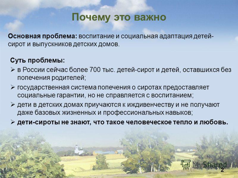 Почему это важно Суть проблемы: в России сейчас более 700 тыс. детей-сирот и детей, оставшихся без попечения родителей; государственная система попечения о сиротах предоставляет социальные гарантии, но не справляется с воспитанием; дети в детских дом