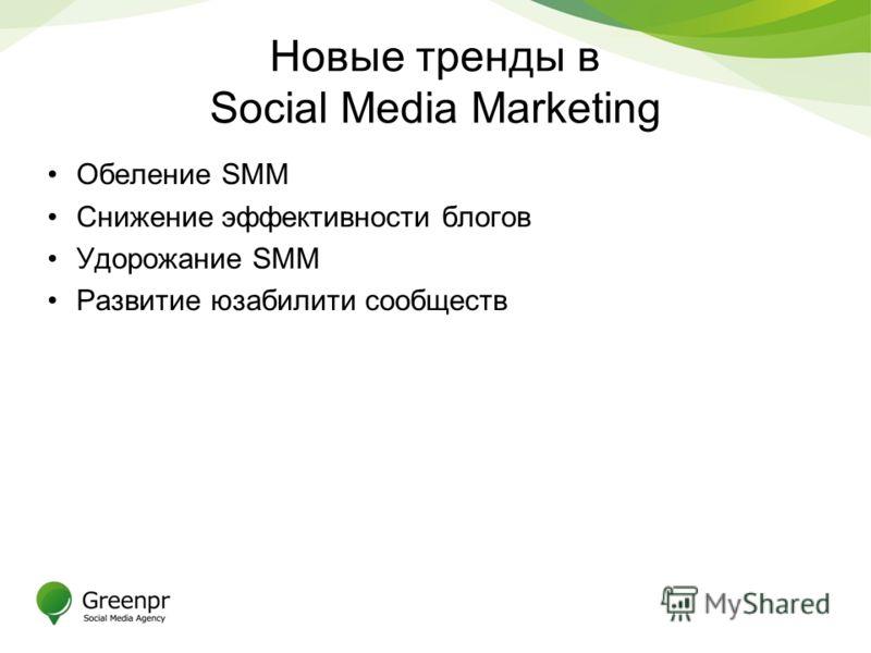 Новые тренды в Social Media Marketing Обеление SMM Снижение эффективности блогов Удорожание SMM Развитие юзабилити сообществ