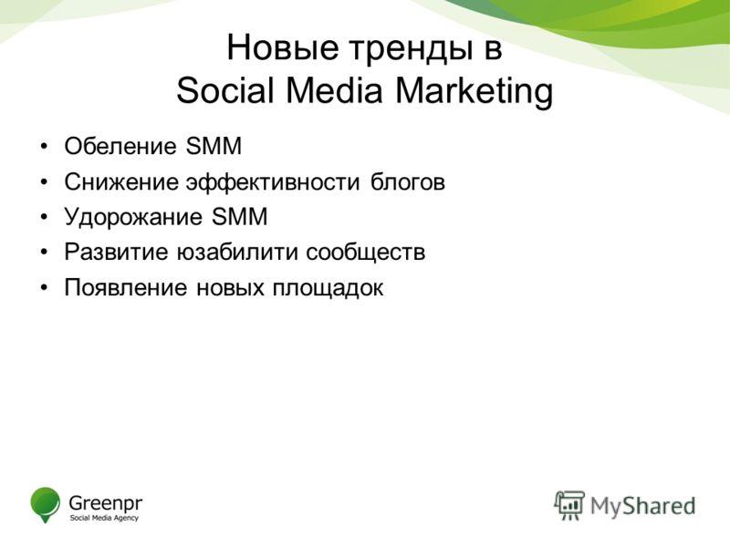 Новые тренды в Social Media Marketing Обеление SMM Снижение эффективности блогов Удорожание SMM Развитие юзабилити сообществ Появление новых площадок
