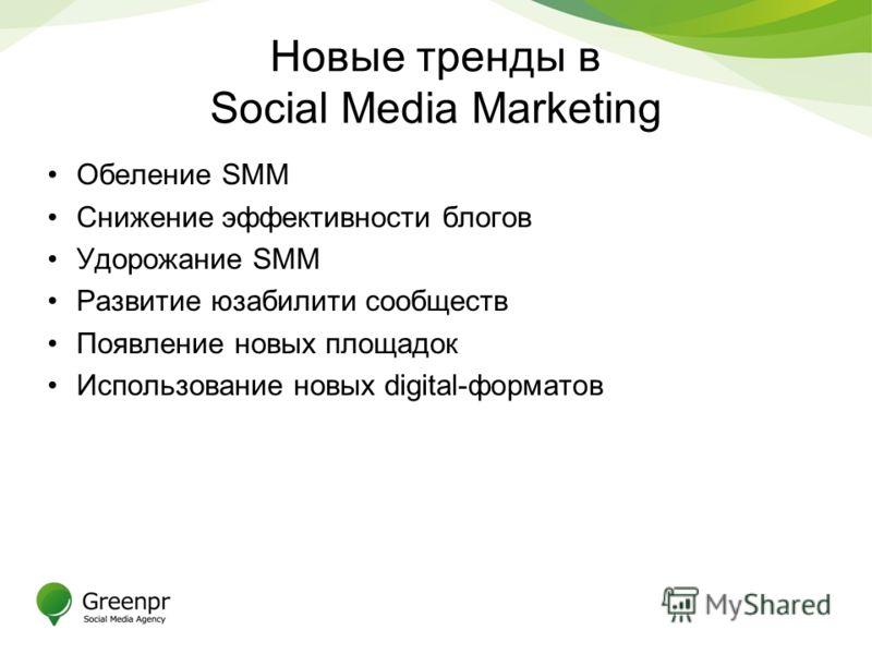 Новые тренды в Social Media Marketing Обеление SMM Снижение эффективности блогов Удорожание SMM Развитие юзабилити сообществ Появление новых площадок Использование новых digital-форматов