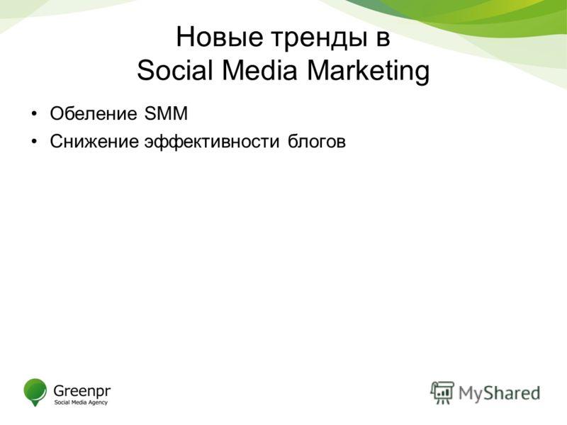 Новые тренды в Social Media Marketing Обеление SMM Снижение эффективности блогов
