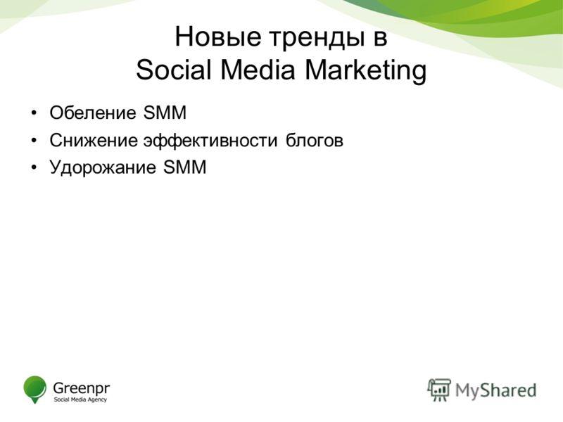 Новые тренды в Social Media Marketing Обеление SMM Снижение эффективности блогов Удорожание SMM