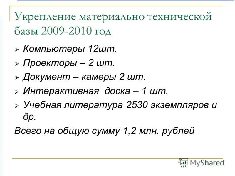 Укрепление материально технической базы 2009-2010 год Компьютеры 12шт. Проекторы – 2 шт. Документ – камеры 2 шт. Интерактивная доска – 1 шт. Учебная литература 2530 экземпляров и др. Всего на общую сумму 1,2 млн. рублей