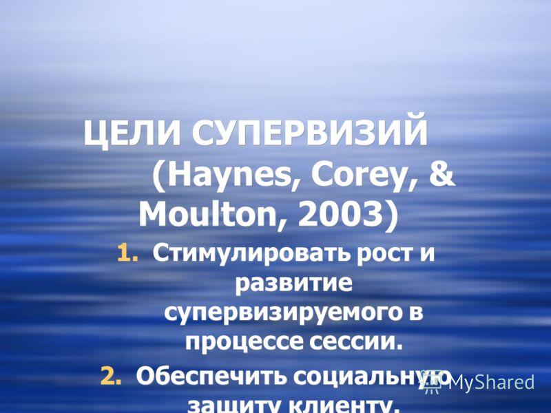 ЦЕЛИ СУПЕРВИЗИЙ (Haynes, Corey, & Moulton, 2003) 1.Стимулировать рост и развитие супервизируемого в процессе сессии. 2.Обеспечить социальную защиту клиенту. 1.Стимулировать рост и развитие супервизируемого в процессе сессии. 2.Обеспечить социальную з