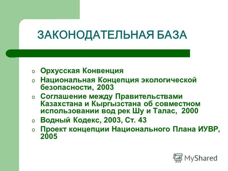 ЗАКОНОДАТЕЛЬНАЯ БАЗА o Орхусская Конвенция o Национальная Концепция экологической безопасности, 2003 o Соглашение между Правительствами Казахстана и Кыргызстана об совместном использовании вод рек Шу и Талас, 2000 o Водный Кодекс, 2003, Ст. 43 o Прое