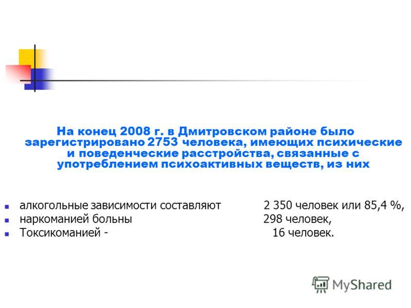 На конец 2008 г. в Дмитровском районе было зарегистрировано 2753 человека, имеющих психические и поведенческие расстройства, связанные с употреблением психоактивных веществ, из них алкогольные зависимости составляют 2 350 человек или 85,4 %, наркоман