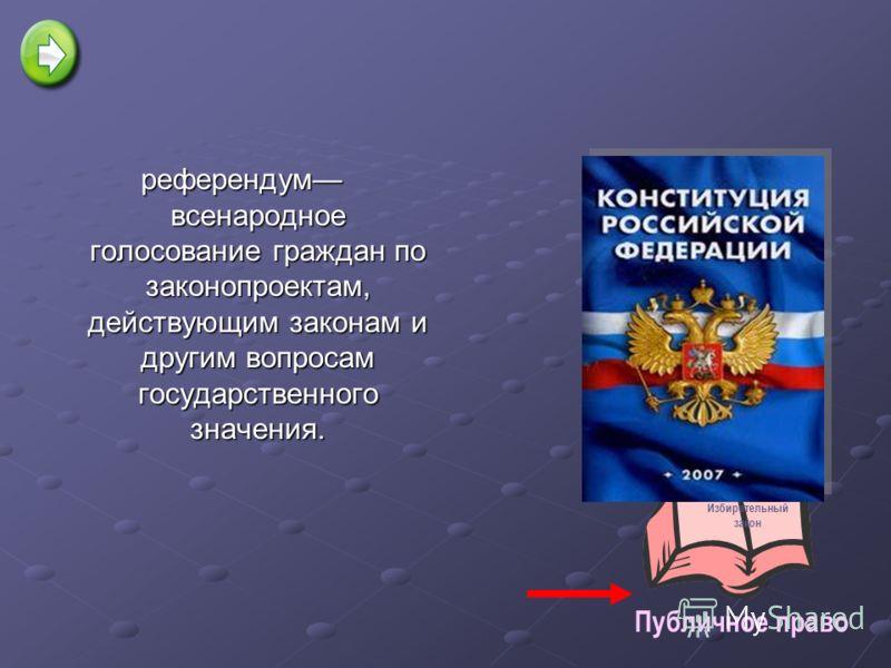 референдум всенародное голосование граждан по законопроектам, действующим законам и другим вопросам государственного значения. Избирательный закон Публичное право