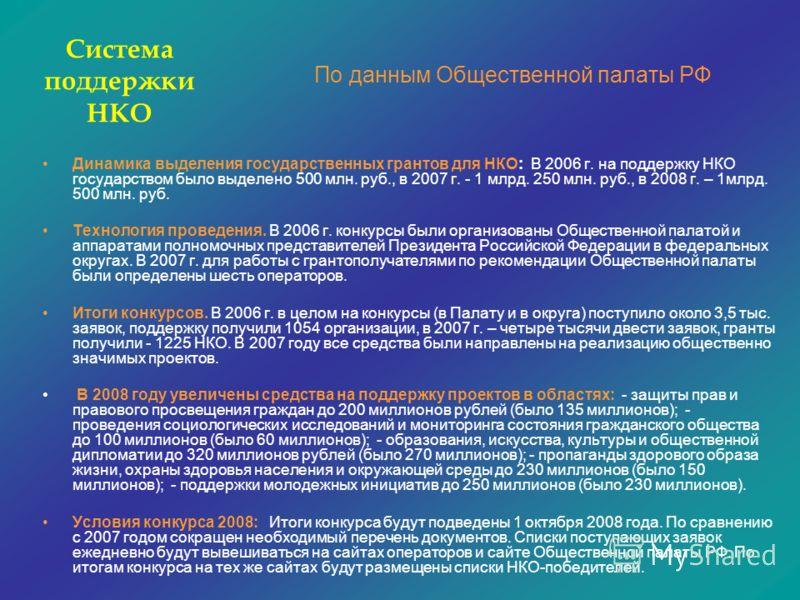Динамика выделения государственных грантов для НКО: В 2006 г. на поддержку НКО государством было выделено 500 млн. руб., в 2007 г. - 1 млрд. 250 млн. руб., в 2008 г. – 1млрд. 500 млн. руб. Технология проведения. В 2006 г. конкурсы были организованы О