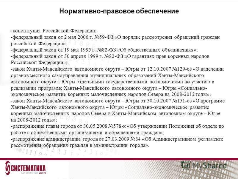 Нормативно-правовое обеспечение -конституция Российской Федерации; -федеральный закон от 2 мая 2006 г. 59-ФЗ «О порядке рассмотрения обращений граждан российской Федерации»; -федеральный закон от 19 мая 1995 г. 82-ФЗ «Об общественных объединениях»; -
