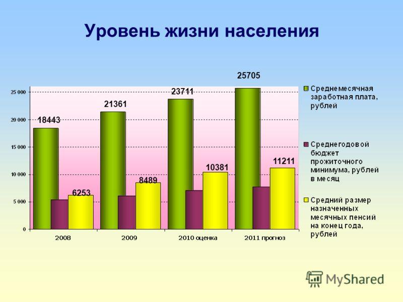 Уровень жизни населения 18443 21361 23711 25705 6253 8489 10381 11211