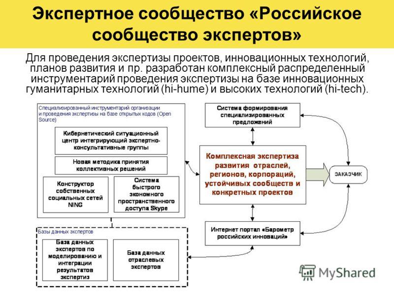 Экспертное сообщество «Российское сообщество экспертов» Для проведения экспертизы проектов, инновационных технологий, планов развития и пр. разработан комплексный распределенный инструментарий проведения экспертизы на базе инновационных гуманитарных