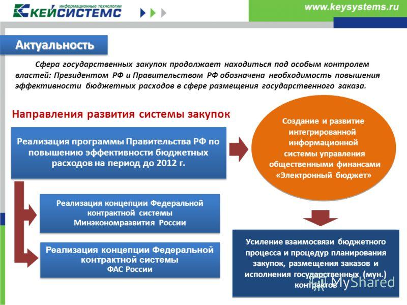 Сфера государственных закупок продолжает находиться под особым контролем властей: Президентом РФ и Правительством РФ обозначена необходимость повышения эффективности бюджетных расходов в сфере размещения государственного заказа. Актуальность Направле