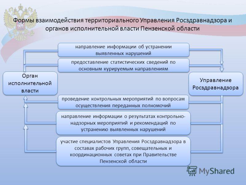 Формы взаимодействия территориального Управления Росздравнадзора и органов исполнительной власти Пензенской области проведение контрольных мероприятий