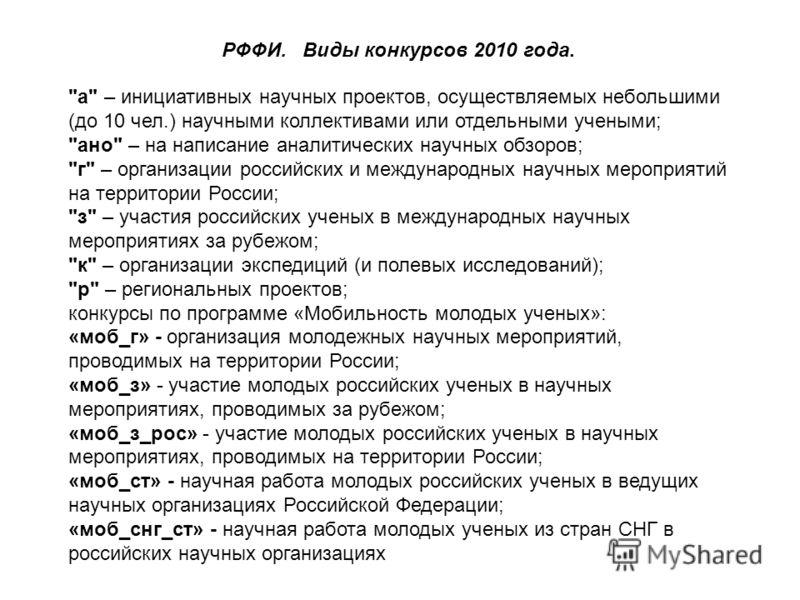 РФФИ. Виды конкурсов 2010 года.