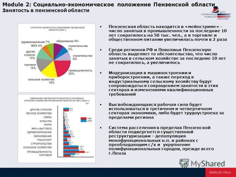 Module 2: Социально-экономическое положение Пензенской области Занятость в пензенской области Пензенская область находится в «мейнстриме» - число занятых в промышленности за последние 10 лет сократилось на 50 тыс. чел., а в торговле и общественном пи