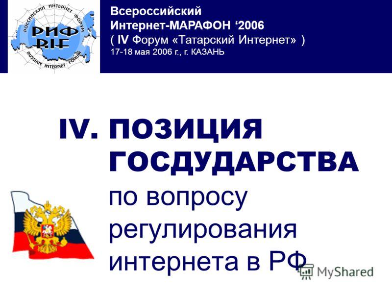 Всероссийский Интернет-МАРАФОН 2006 ( IV Форум «Татарский Интернет» ) 17-18 мая 2006 г., г. КАЗАНЬ IV. ПОЗИЦИЯ ГОСДУДАРСТВА по вопросу регулирования интернета в РФ