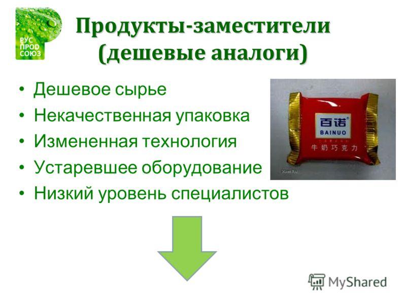 Продукты-заместители (дешевые аналоги) Дешевое сырье Некачественная упаковка Измененная технология Устаревшее оборудование Низкий уровень специалистов