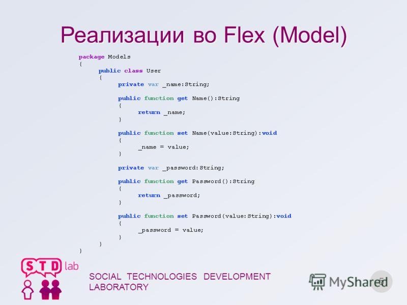 Реализации во Flex (Model) 5 SOCIAL TECHNOLOGIES DEVELOPMENT LABORATORY