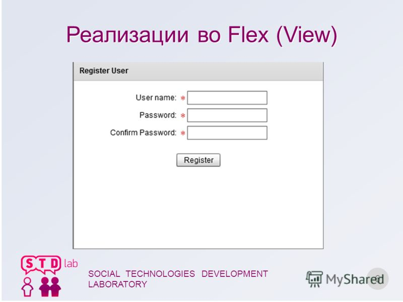 Реализации во Flex (View) 6 SOCIAL TECHNOLOGIES DEVELOPMENT LABORATORY