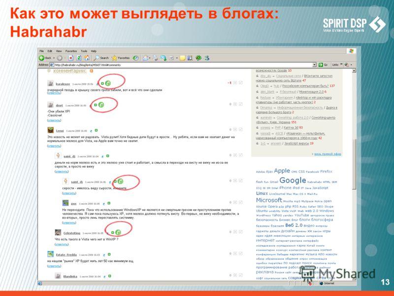 13 Как это может выглядеть в блогах: Habrahabr