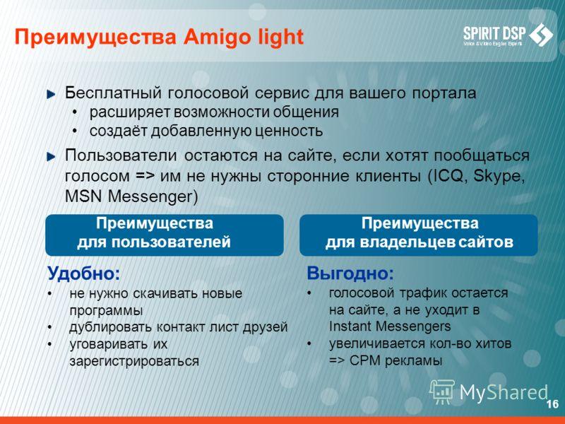 16 Преимущества Amigo light Бесплатный голосовой сервис для вашего портала расширяет возможности общения создаёт добавленную ценность Пользователи остаются на сайте, если хотят пообщаться голосом => им не нужны сторонние клиенты (ICQ, Skype, MSN Mess