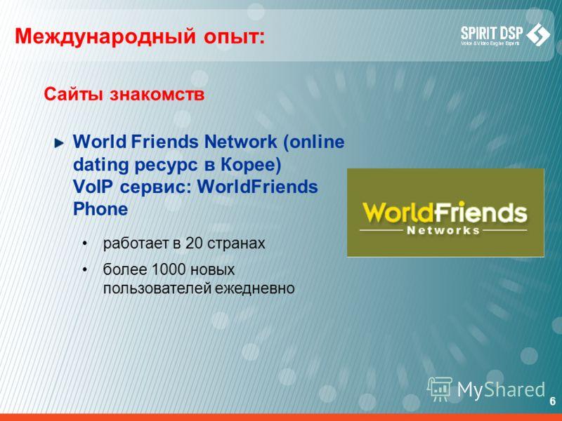 6 Международный опыт: Сайты знакомств World Friends Network (online dating ресурс в Корее) VoIP сервис: WorldFriends Phone работает в 20 странах более 1000 новых пользователей ежедневно