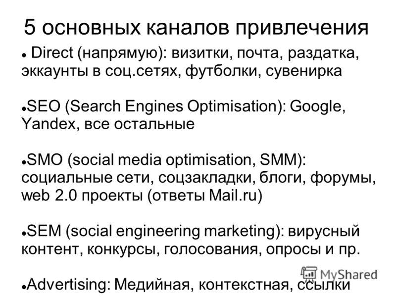 5 основных каналов привлечения Direct (напрямую): визитки, почта, раздатка, эккаунты в соц.сетях, футболки, сувенирка SEO (Search Engines Optimisation): Google, Yandex, все остальные SMO (social media optimisation, SMM): социальные сети, соцзакладки,