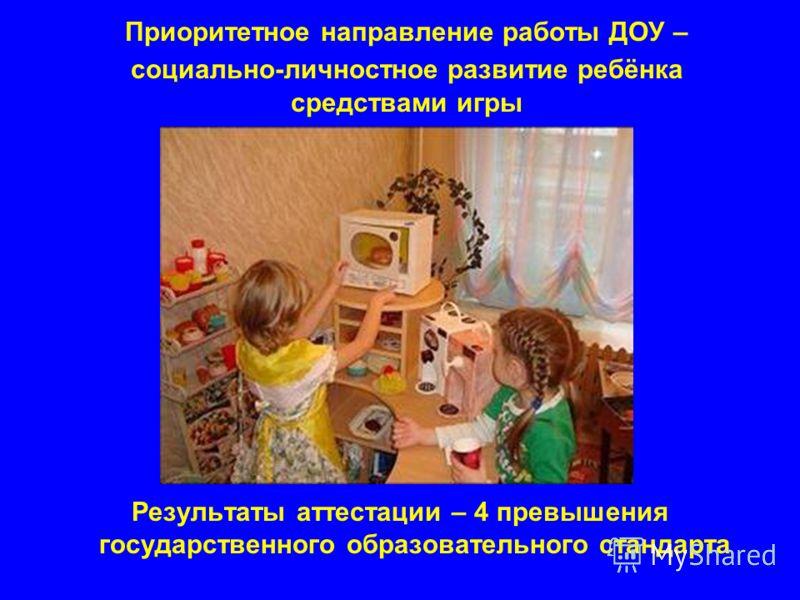 Приоритетное направление работы ДОУ – социально-личностное развитие ребёнка средствами игры Результаты аттестации – 4 превышения государственного образовательного стандарта