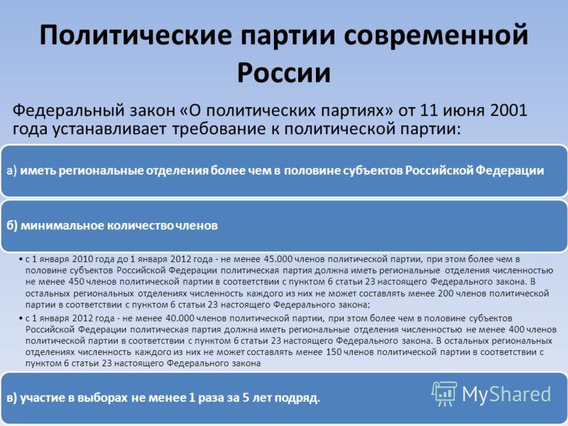 Политические партии современной России а) иметь региональные отделения более чем в половине субъектов Российской Федерацииб) минимальное количество членов с 1 января 2010 года до 1 января 2012 года - не менее 45.000 членов политической партии, при эт