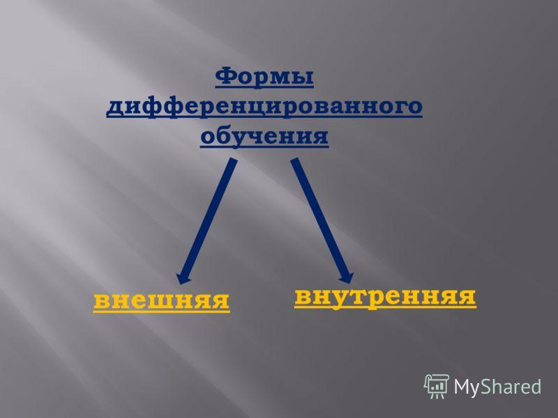 Формы дифференцированного обучения внешняя внутренняя